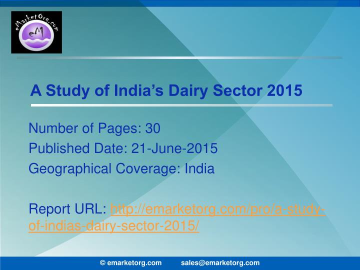 a study of india s dairy sector 2015 n.