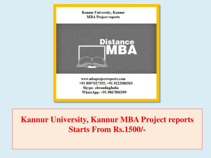 kannur university kannur mba project reports starts from rs 1500 n.