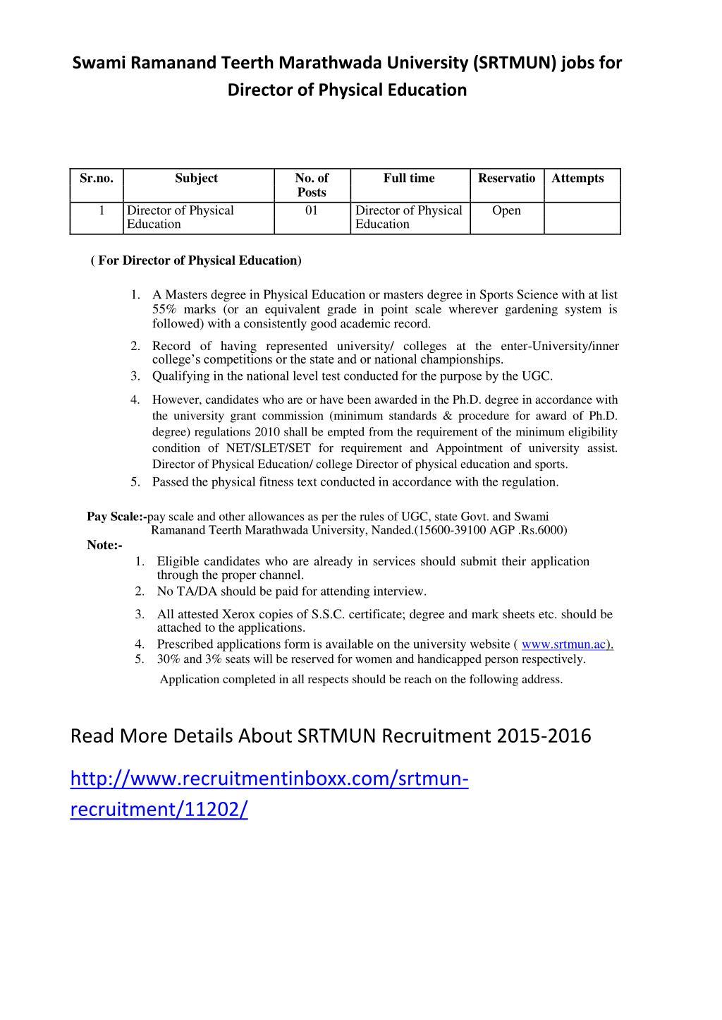 Ppt Swami Ramanand Teerth Marathwada University Srtmun Jobs For