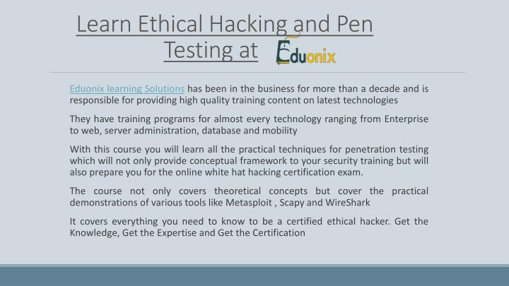 issues in ethical hacking and penetration testing information technology essay Study of ethical hacking physical entry this test acts out a physical penetration of the organization's building information technology environment.
