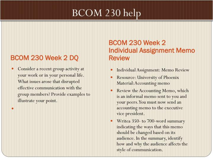 bcom 230 memo review university of phoenix material accounting memo Syllabus bcom/230 business communication for accountants copyright ©2014 by university of phoenix all rights reserved course description this course.