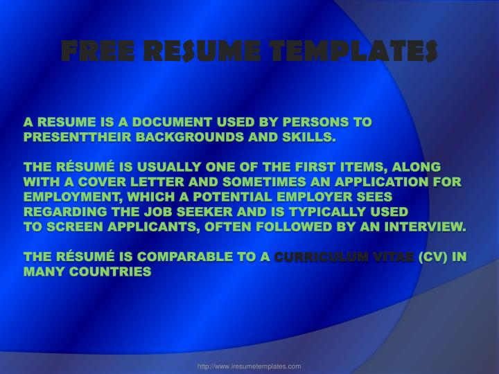 ppt - free resume template download powerpoint presentation  free download