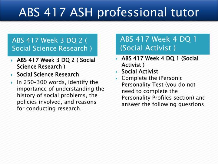 ABS 417 ASH professional tutor