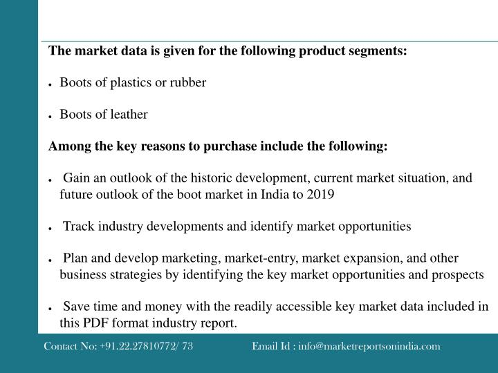 The market data is given for the following product segments: