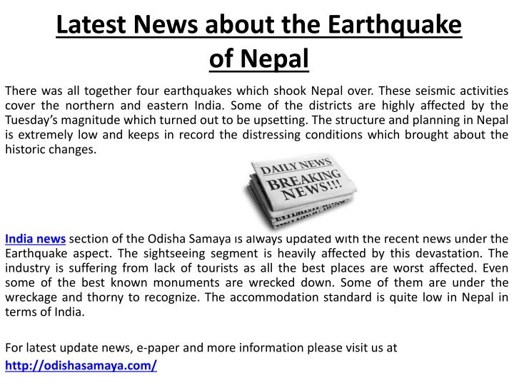 latest news about the earthquake of nepal n.