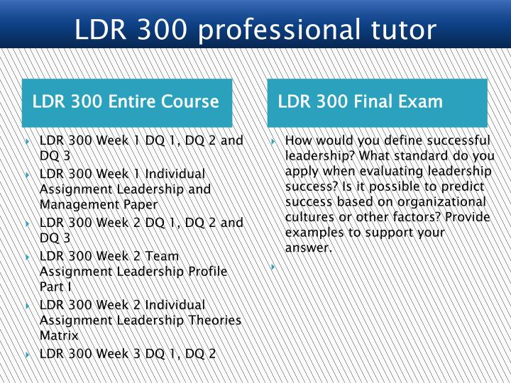 ldr 300 leadership and management week Category: ldr 300 tags: differentiate between leadership and management roles and provide specific examples from the text literature or personal example, examine your individual essential elements of leadership and management, ldr/ 300 week 1 leadership assessment, resource: leadership assessments found on internet.