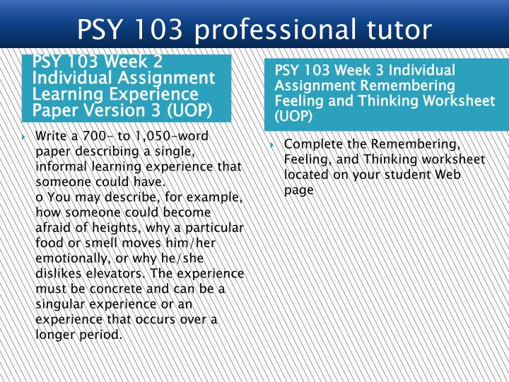 psy103 r7 remembering feeling thinking worksheet Complete the university of phoenix material: remembering, feeling, and thinking worksheetoriginal work only.