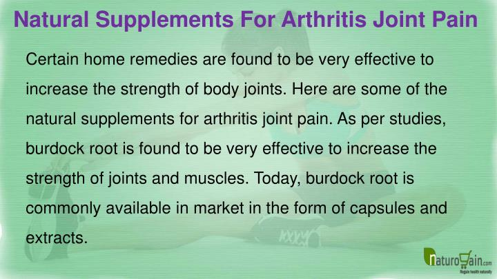 Natural Supplements For Arthritis Joint Pain