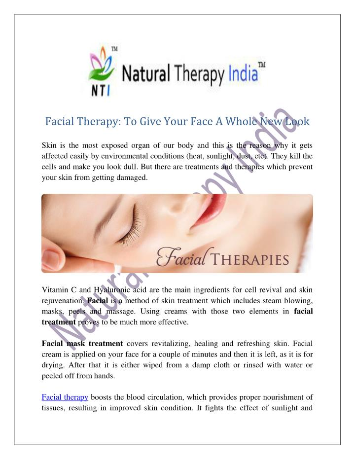 Facial Therapy: To Give Your Face A Whole New Look
