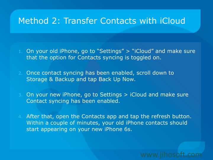 Method 2: Transfer Contacts with iCloud