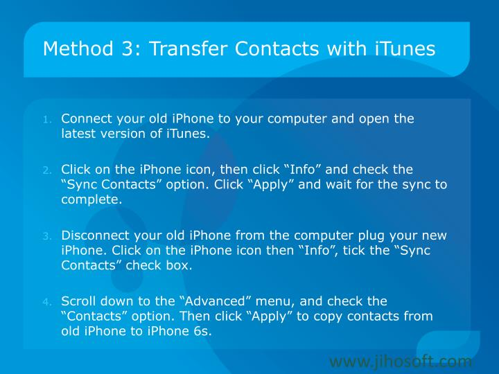 Method 3: Transfer Contacts with iTunes