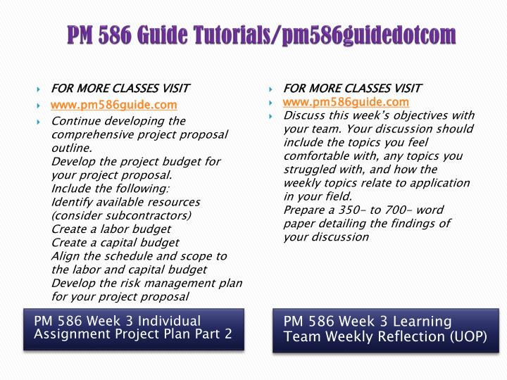 pm 586 project part 1 Pm 586 week 2 individual assignment project plan part 1 what steps can a project manager take to address pm 586 week 6 learning team assignment internal.