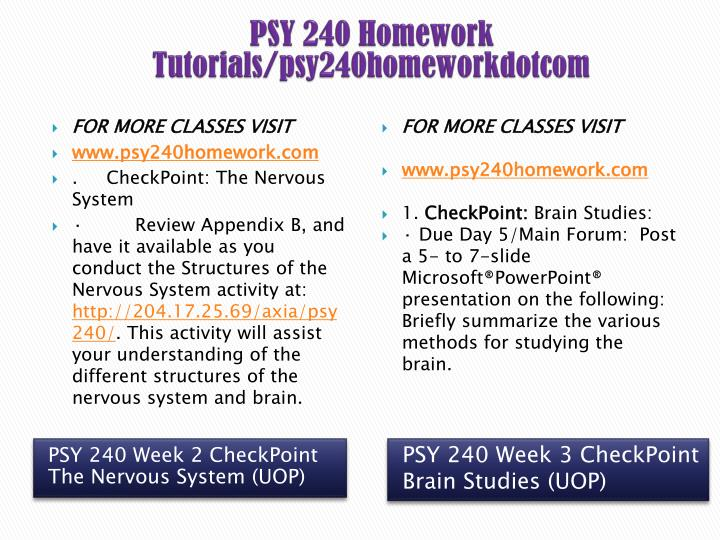 psy 240 appendix d University of phoenix material appendix a final project overview and timeline final project overview the final project for psy 240 is called analyzing psychological disorders.