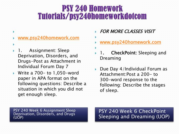 psy 240 week 6 sleep deprivation disorders and drugs