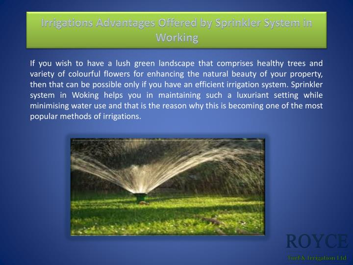 irrigations advantages offered by sprinkler system in working n.