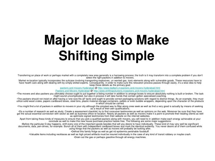 major ideas to make shifting simple n.