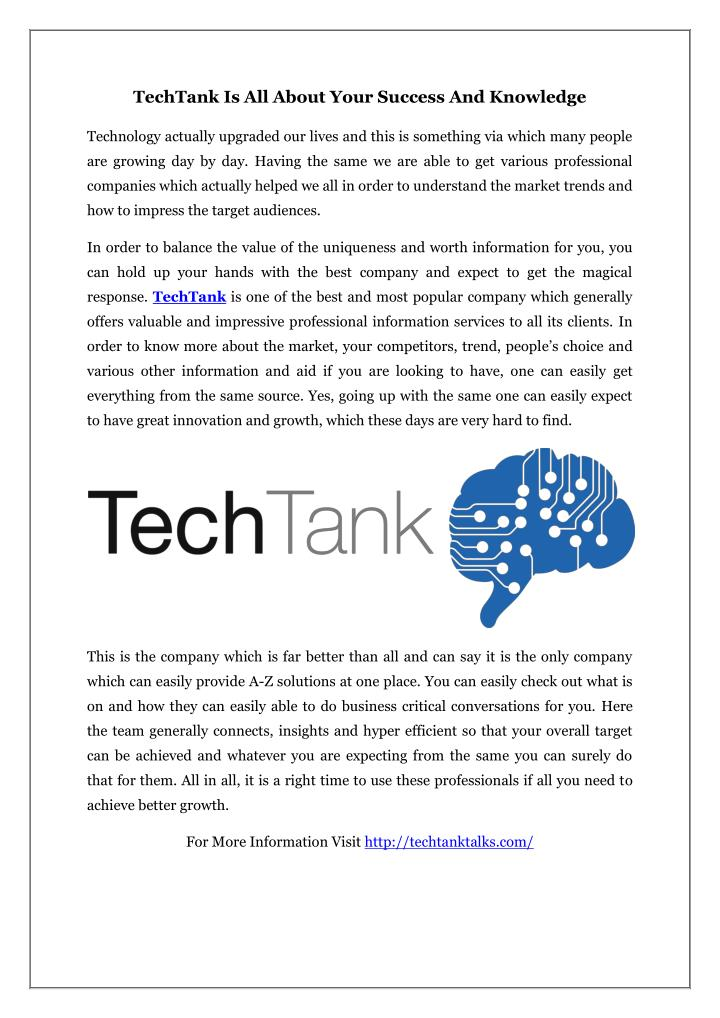 TechTank Is All About Your Success And Knowledge