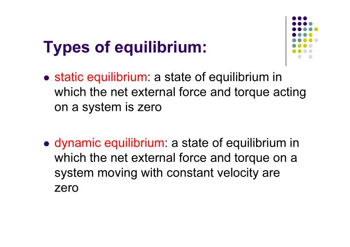 Types of equilibrium: