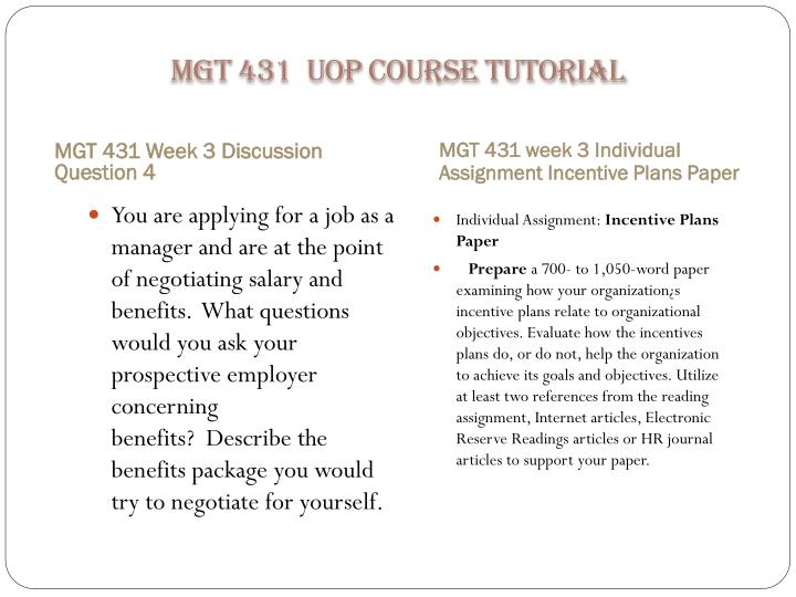 MGT 431  UOP Course Tutorial