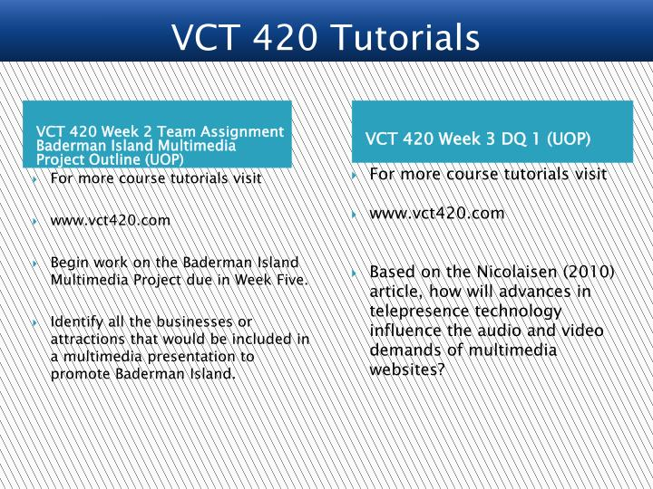 VCT 420 Week 2 Team Assignment Baderman Island Multimedia Project Outline (UOP)