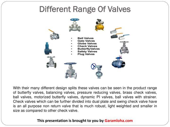 Different range of valves