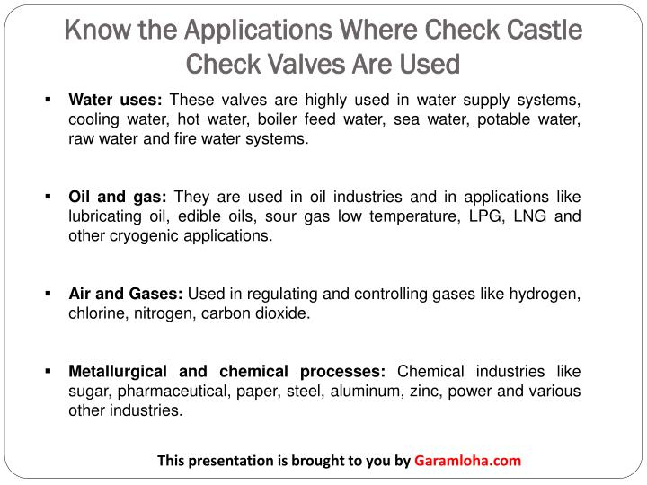 Know the Applications Where Check Castle Check Valves Are Used