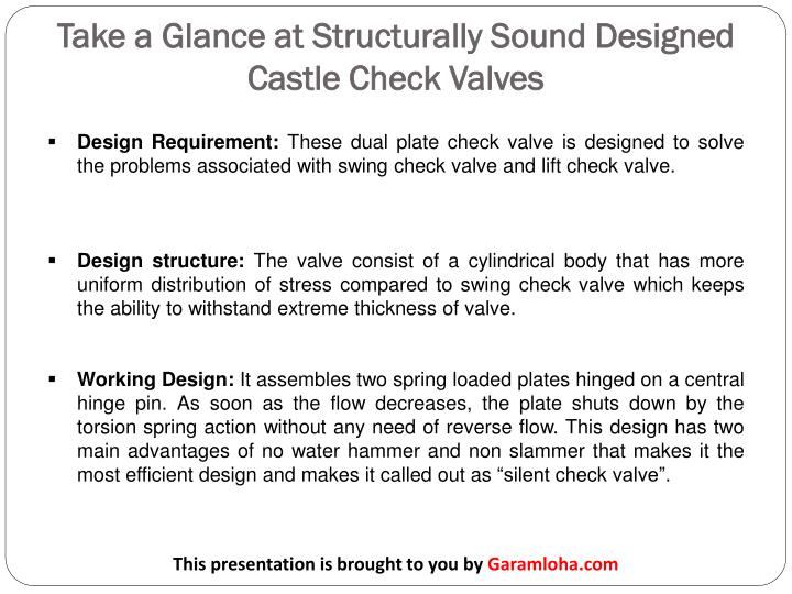 Take a glance at structurally sound designed castle check valves