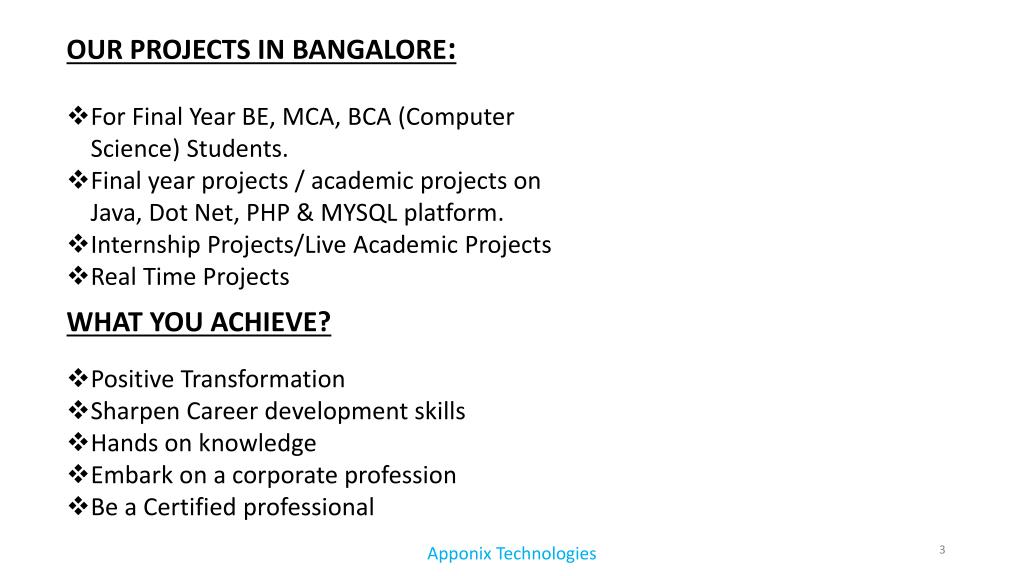 PPT - MCA,BCA,Diploma academic projects training in bangalore