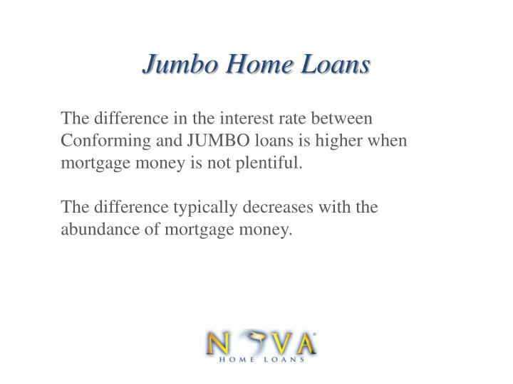 The difference in the interest rate between Conforming and JUMBO loans is higher when mortgage money is not plentiful.