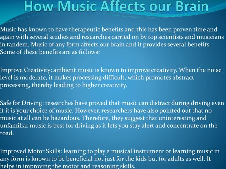 musics affect on our brains