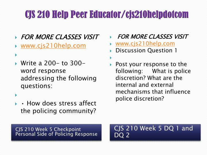 checkpoint 5 personal side of policing cjs 210 Question checkpoint write a 200- to 300-word response addressing the following questions: how does stress affect the policing community how does police culture support police officers in evolving job situations.