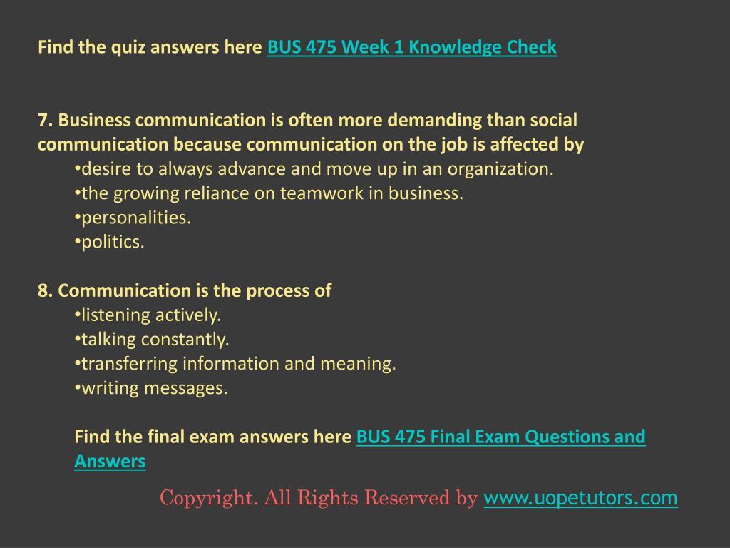 PPT - BUS 475 Capstone Final Exam Part 1 (100% Correct