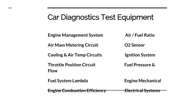 Car diagnostics test equipment