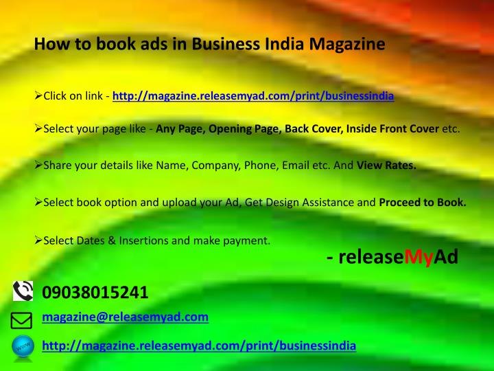 How to book ads in Business India Magazine