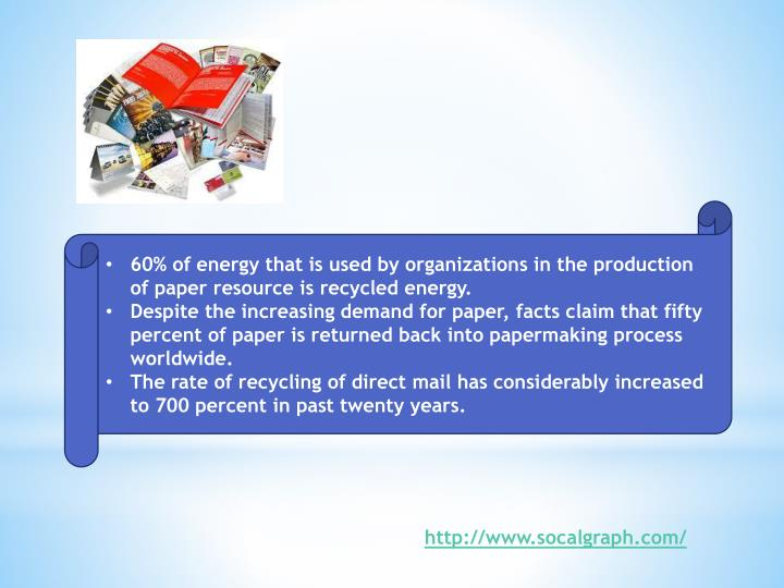 60% of energy that is used by organizations in the production of paper resource is recycled energy.