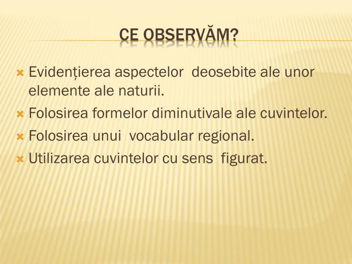 Evidenţierea aspectelor  deosebite ale unor  elemente ale naturii.