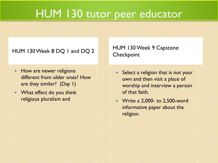 HUM 130 tutor peer educator