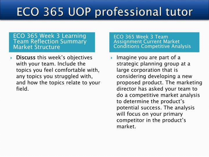 eco 365 week 3 team assignment current marketing conditions competitive analysis 2 and 3 eco 365 week 3 learning team assignment: current market conditions competitive analysis eco 365 principles of microeconomics eco 365 week 1.