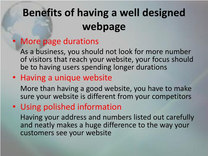 Benefits of having a well designed