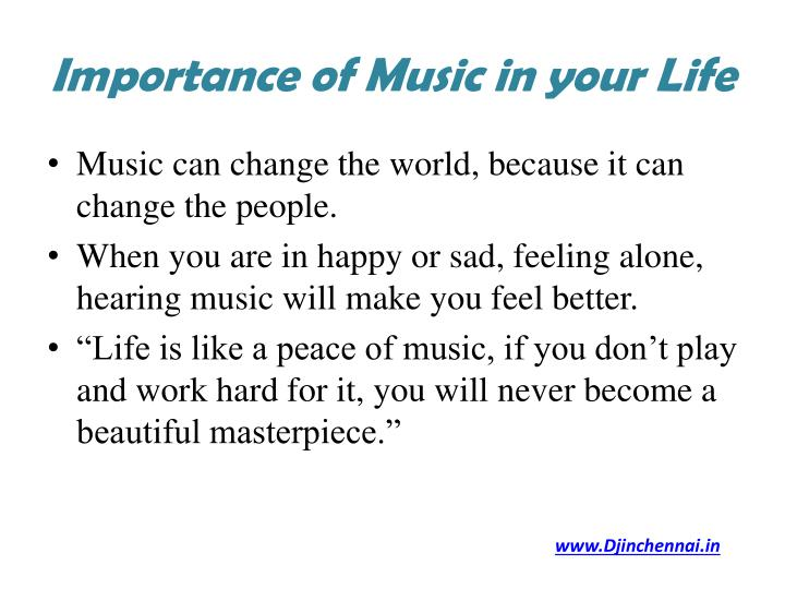 an essay on the importance of music Get an answer for 'what is the importance of music in your life' and find homework help for other arts questions at enotes.