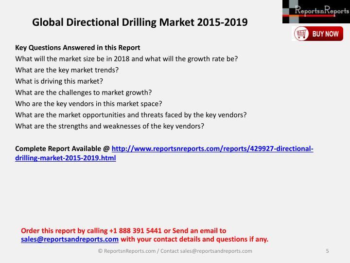 Global Directional Drilling Market 2015-2019