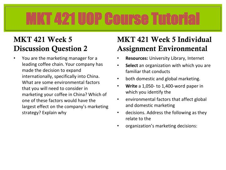 mkt 421 week 5 power point Do your power points post your concepts and situations from an entrepreneurial manager's point of to help you with your mkt/421 marketing mkt/421 week 1.