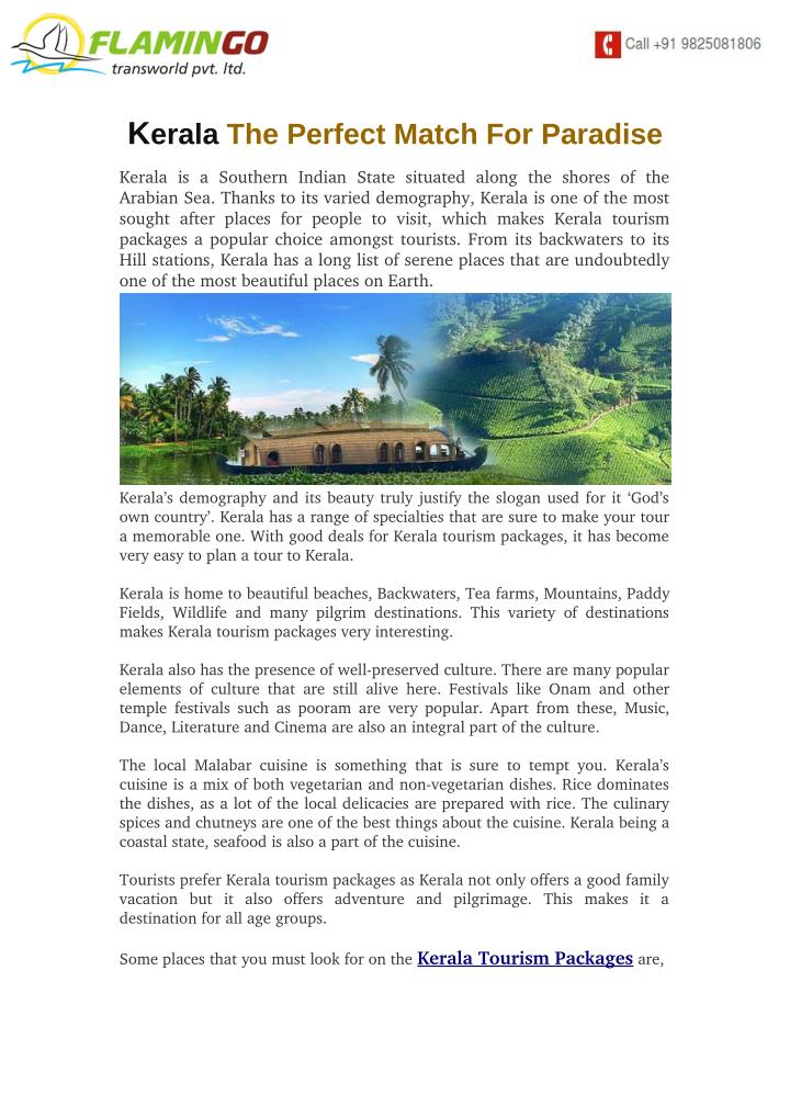 PPT - Kerala The Perfect Match For Paradise PowerPoint
