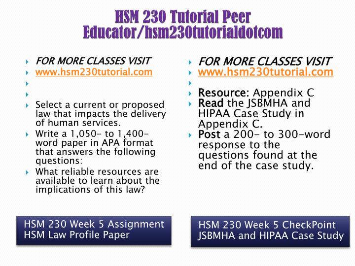 hsm 230 week 5 assignment hhs law Hsm 230-week 5 assignment: hhs law profile paper by prof the health insurance portability and accountability act ensures privacy and confidentiality of.