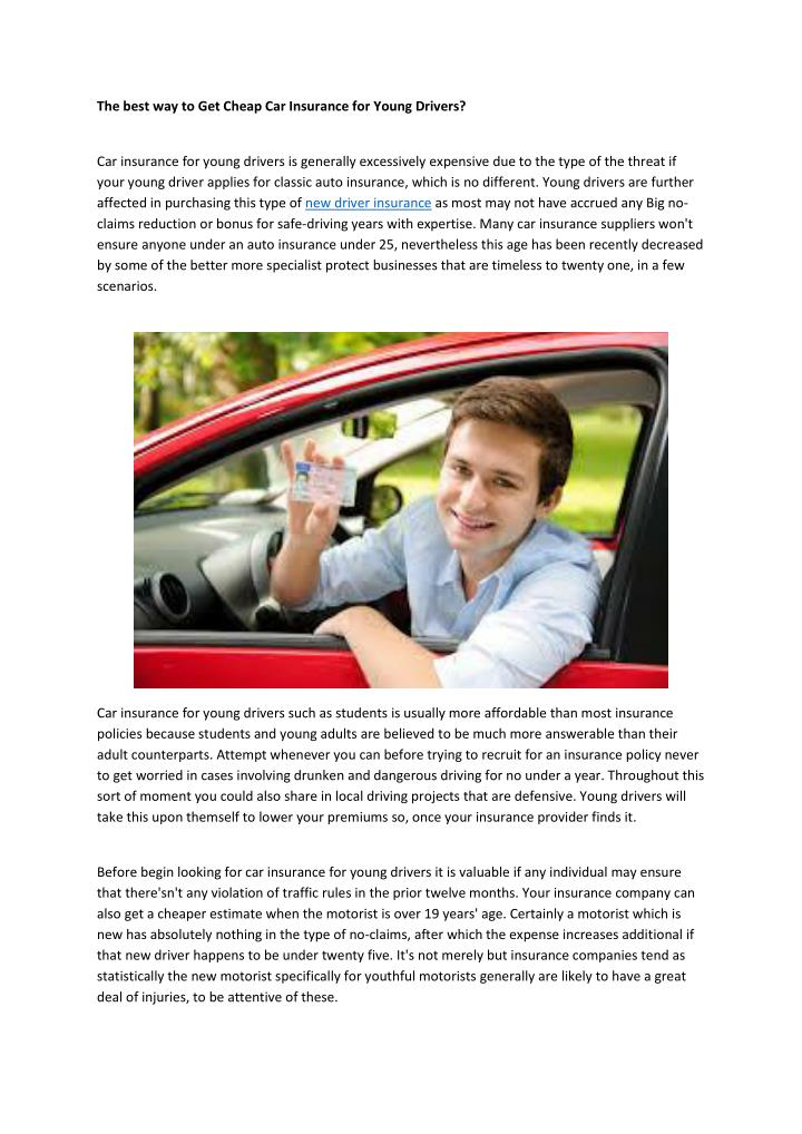 The best way to Get Cheap Car Insurance for Young Drivers?