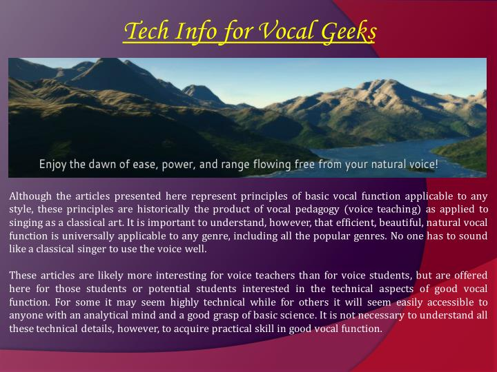 Tech Info for Vocal Geeks
