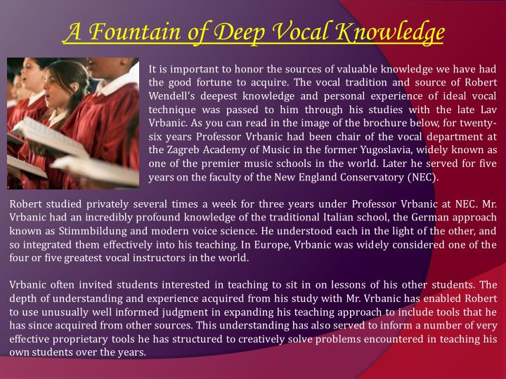 A Fountain of Deep Vocal Knowledge