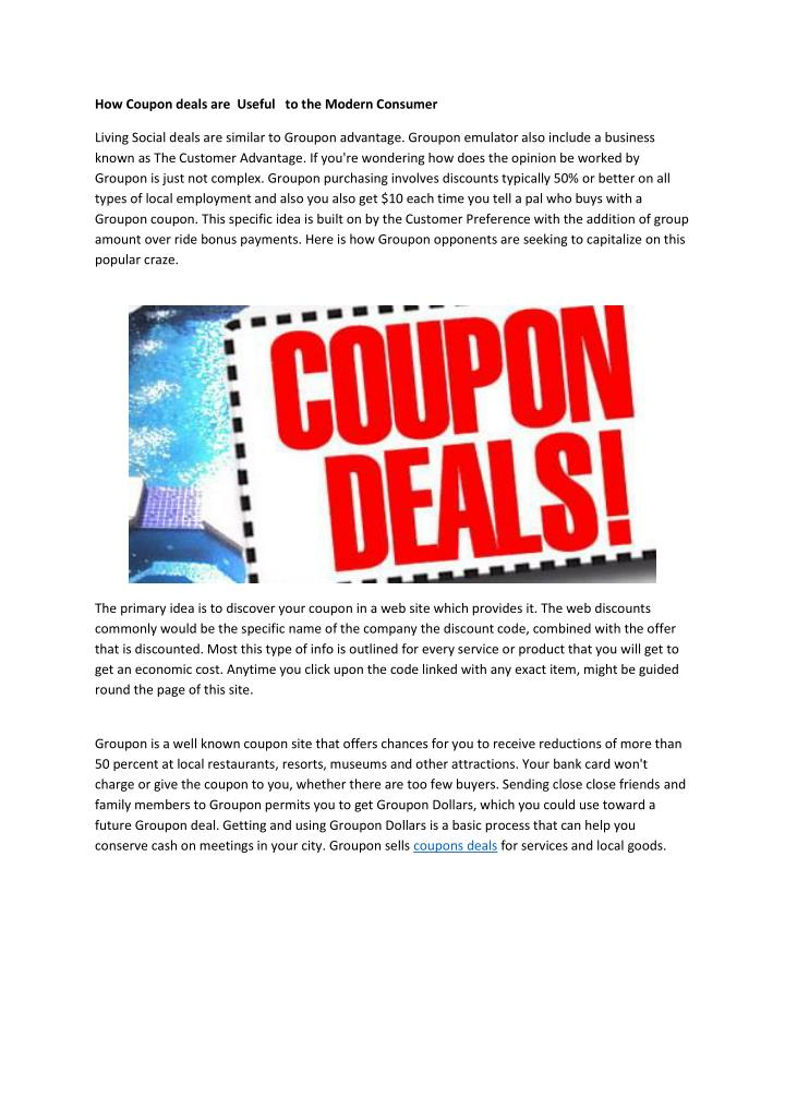 How Coupon deals are  Useful   to the Modern Consumer