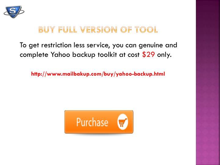 Buy FULL Version of Tool