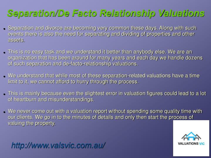 Separation/De Facto Relationship Valuations